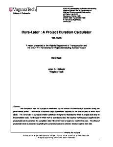 Dura-Lator : A Project Duration Calculator