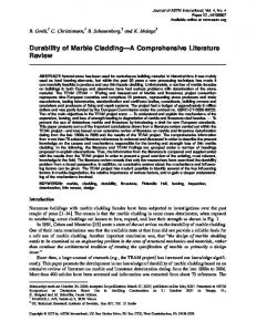 Durability of Marble Cladding A Comprehensive Literature Review