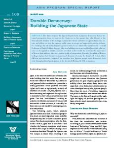 Durable Democracy: Building the Japanese State