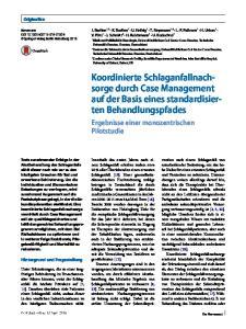 durch Case Management auf der Basis eines standardisierten Behandlungspfades