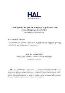 Dutch gender in specific language impairment and second language acquisition