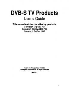 DVB-S TV Products User s Guide