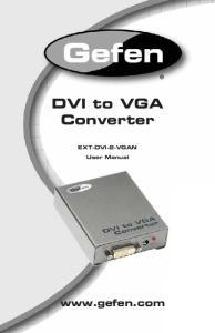 DVI to VGA Converter.  EXT-DVI-2-VGAN. User Manual