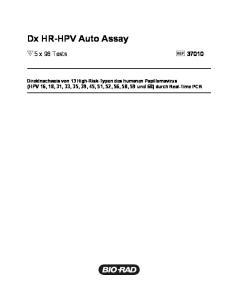 Dx HR-HPV Auto Assay. 5 x 96 Tests 37010