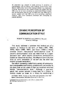 DYADIC PERCEPTION OF COMMUNICATION STYLE