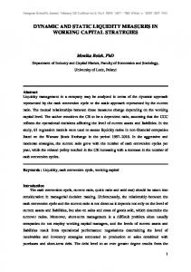 DYNAMIC AND STATIC LIQUIDITY MEASURES IN WORKING CAPITAL STRATEGIES