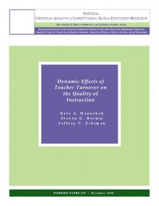 Dynamic Effects of Teacher Turnover on the Quality of Instruction