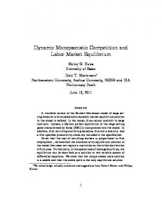 Dynamic Monopsonistic Competition and Labor Market Equilibrium