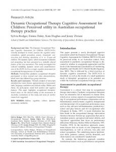 Dynamic Occupational Therapy Cognitive Assessment for Children: Perceived utility in Australian occupational therapy practice