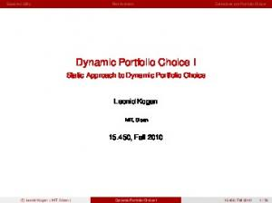 Dynamic Portfolio Choice I
