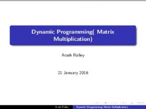 Dynamic Programming( Matrix Multiplication)