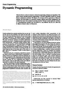 Dynamic Programming. Power Programming. David B. Wagner