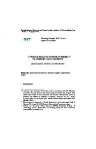 DYNAMIC ROLE OF ACTORS IN FREIGHT TRANSPORT AND LOGISTICS 1