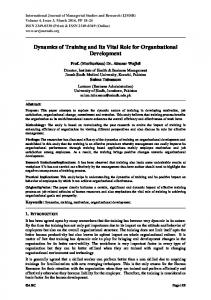 Dynamics of Training and Its Vital Role for Organizational Development