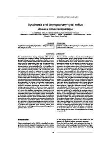 Dysphonia and laryngopharyngeal reflux