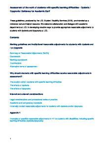 Dyspraxia: Guidance for Academic Staff