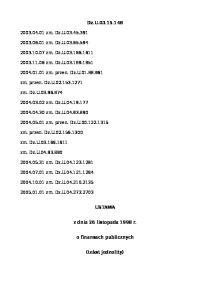Dz.U USTAWA z dnia 26 listopada 1998 r. o finansach publicznych (tekst jednolity)