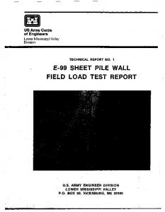 E-99 SHEET PILE WALL FIELD LOAD TEST REPORT