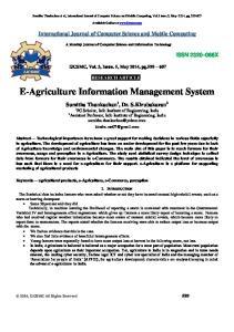 E-Agriculture Information Management System