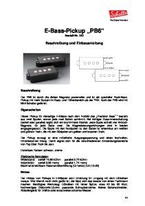E-Bass-Pickup PB6 Bestell-Nr. 240