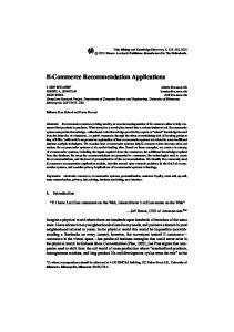 E-Commerce Recommendation Applications