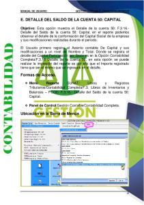 E. DETALLE DEL SALDO DE LA CUENTA 50: CAPITAL