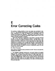 E Error Correcting Codes