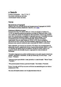 e-fameb Boletim Informativo - Ano III- No.10 Faculdade de Medicina da Bahia Universidade Federal da Bahia