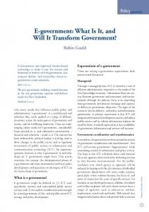 E-government: What Is It, and Will It Transform Government?