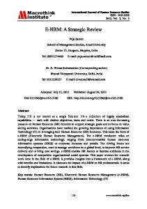 E-HRM: A Strategic Review