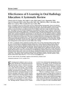 E-learning may be defined as any use of computers. Effectiveness of E-Learning in Oral Radiology Education: A Systematic Review