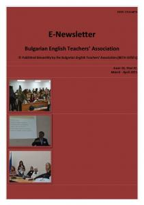 E-Newsletter. Bulgarian English Teachers Association. Published bimonthly by the Bulgarian English Teachers Association (BETA-IATEFL)