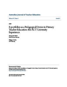 E-portfolios as a Pedagogical Device in Primary Teacher Education: the AUT University Experience
