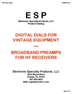 E S P Electronic Specialty Products, LLC Product Catalog