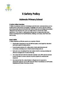 E Safety Policy. Ashmole Primary School