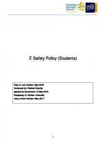 E Safety Policy (Students)