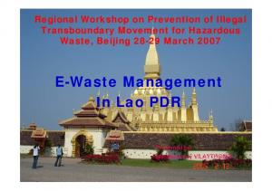 E-Waste Management In Lao PDR