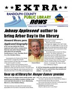 E XT R A. volume xix no. 8 February Johnny Appleseed author to bring Arbor Day to the library