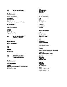 E03 ENTERTAINMENT CANADA PROGRAM PROMO. Series Entries. Single Entries. Single Entries