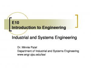 E10 Introduction to Engineering. Industrial and Systems Engineering