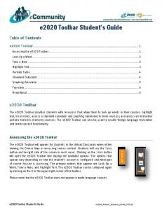 e2020 Toolbar Student s Guide