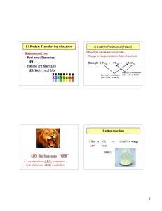 E3 Redox: Transferring electrons. Oxidation-Reduction (Redox)