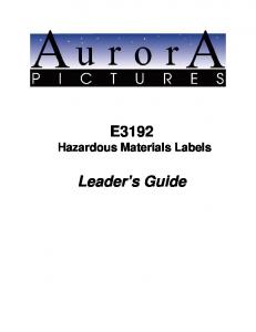 E3192 Hazardous Materials Labels. Leader s Guide