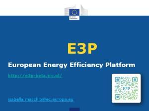E3P. European Energy Efficiency Platform
