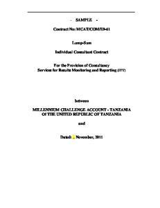 E9-61. Lump-Sum. Individual Consultant Contract