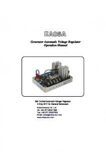EA05A. Generator Automatic Voltage Regulator Operation Manual