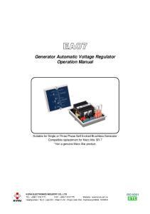 EA07. Generator Automatic Voltage Regulator Operation Manual