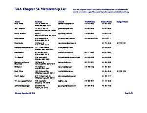 EAA Chapter 54 Membership List