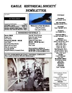 Eagle historical Society Newsletter