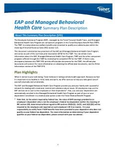 EAP and Managed Behavioral Health Care Summary Plan Description